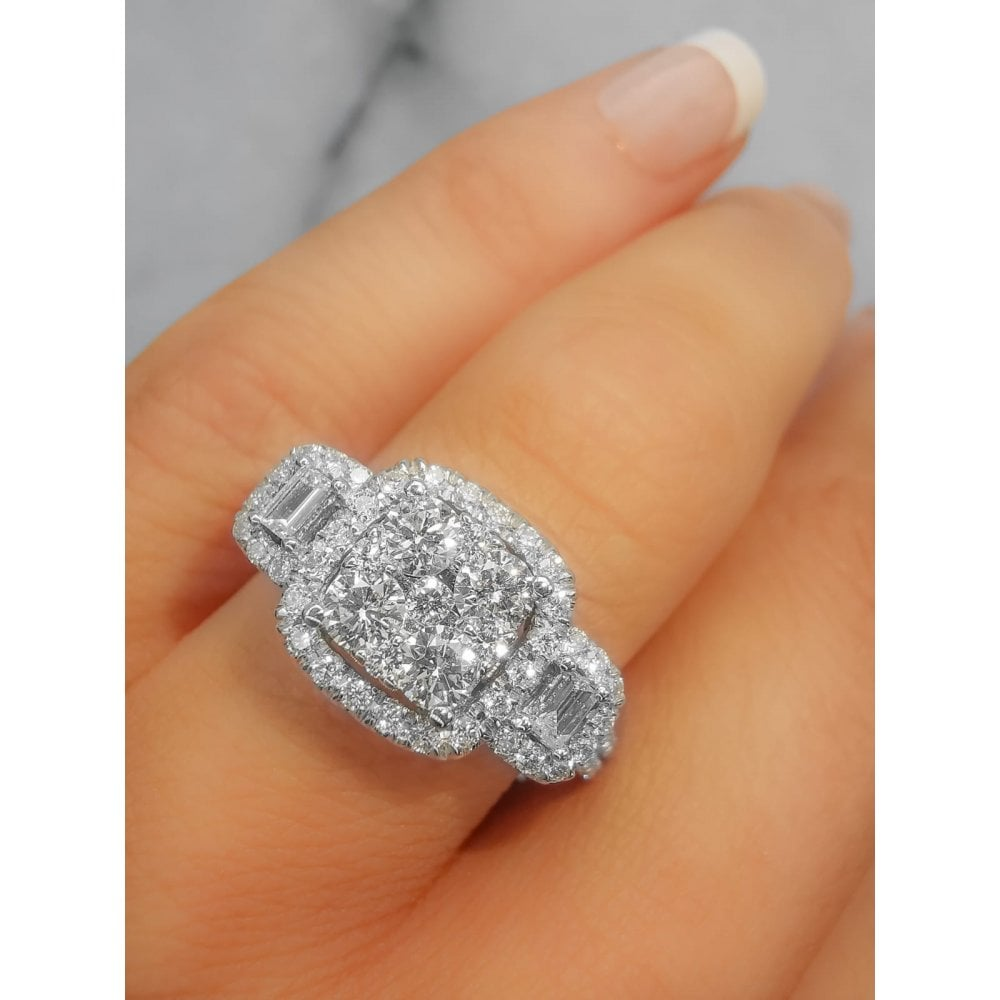 9ct Canadian White Gold 1 00ct 3 Stone Square Illusion With Single Halo Diamond Ring Diamond Jewellery From Faith Jewellers Uk