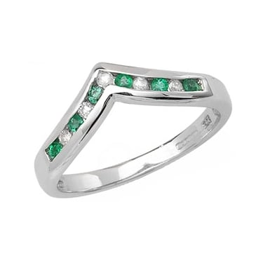 9ct Diamond and Emerald Wishbone D0.10ct E0.14ct White Gold