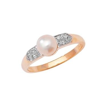 9ct Diamond and FreshWater Pearl PRL D/0.33CT YG Core Stock Sept 2013