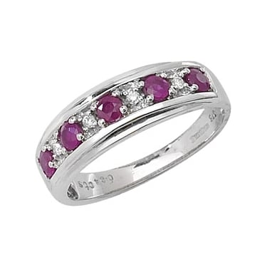 9ct Diamond and Ruby Half Eternity D0.04 Rub0.50ct White Gold Core Stock Sept 2013