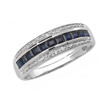 9ct Diamond and Sq Sapphire Band D0.09ct S0.76ct White Gold Core Stock Sept 2013