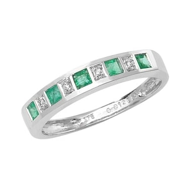 9ct Diamond & Emerald E0.25 D0.012ct White Gold Core Stock Sept 2013
