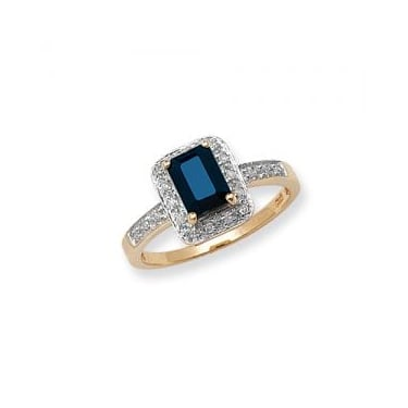 9ct Diamond & Sapphire D0.10ct Yellow Gold Core Stock Sept 2013