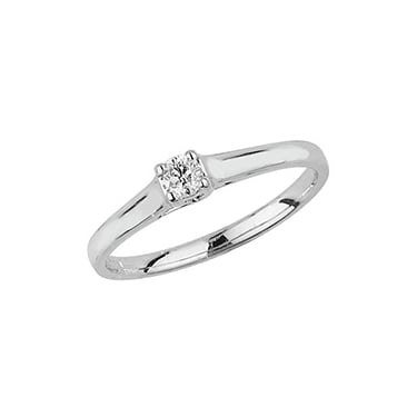 9ct White Gold 0.10ct Crossover Set Solitaire Diamond Ring