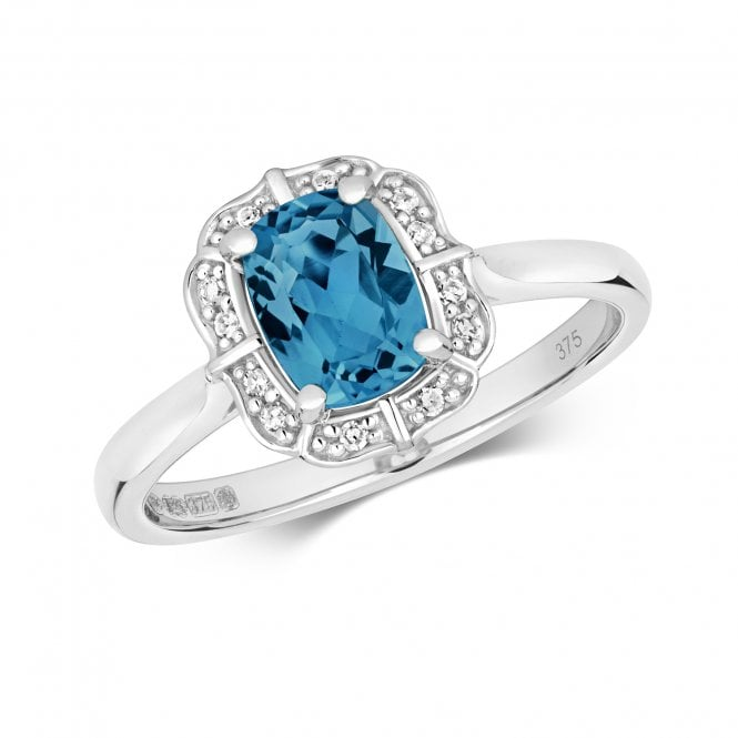 9ct White Gold 1.08ct London Blue Topaz Solitaire 0.06ct