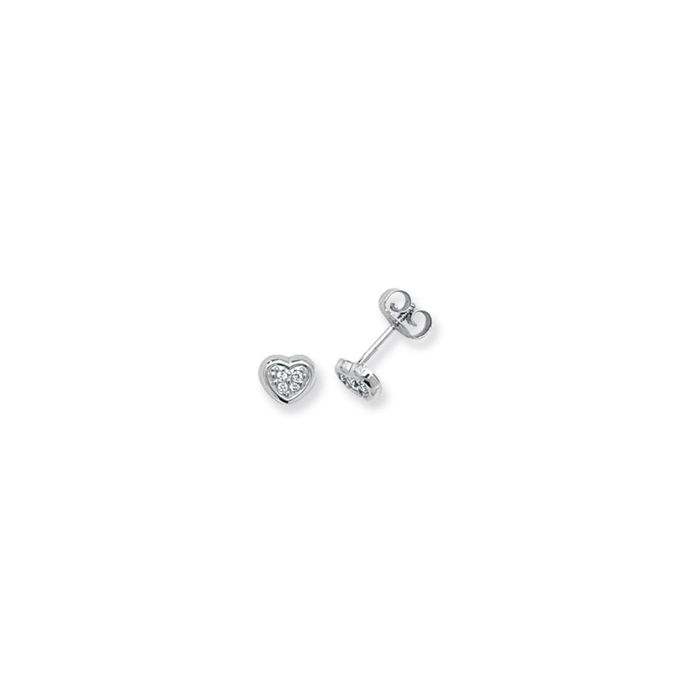 85c24dac2 Faith 9ct Gold 9ct White Gold CZ Heart Stud Earrings - Jewellery ...
