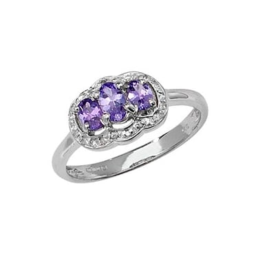 9ct White Gold Diamond and Oval Tanzanite Ring T0.50ct D0.07ct Core Stock Sept 2013