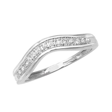 9ct White Gold Diamond Eternity Channel Set Curved Wishbone 0.10ct Ring
