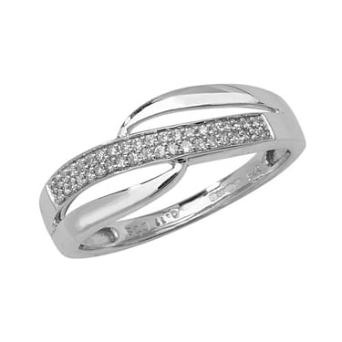 9ct White Gold Diamond Eternity Crossover 0.12ct Ring