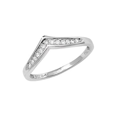 9ct White Gold Diamond Eternity Wishbone Channel Set 0.10ct Ring