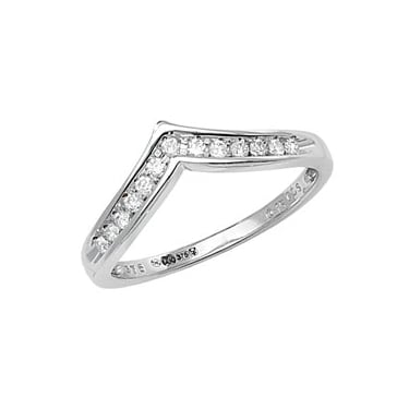 9ct White Gold Diamond Eternity Wishbone Channel Set 0.15ct Ring