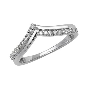0.15 Carat Diamond Curved Wishbone Half Eternity Ring, 9k White Gold