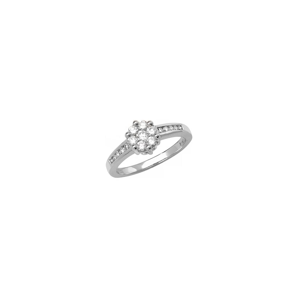9ct White Gold Flower Cluster Set 050ct Diamond Ring Diamond