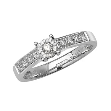 9ct White Gold Solitaire Illusion Set 0.16ct Diamond Shoulders Ring
