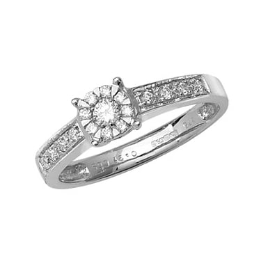 9ct White Gold Solitaire Illusion Set 0.21ct Diamond Shoulders Ring
