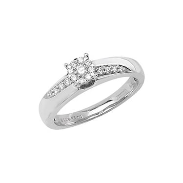 9ct White Gold Solitaire Illusion Set 0.25ct Diamond Crossover Shoulders Ring
