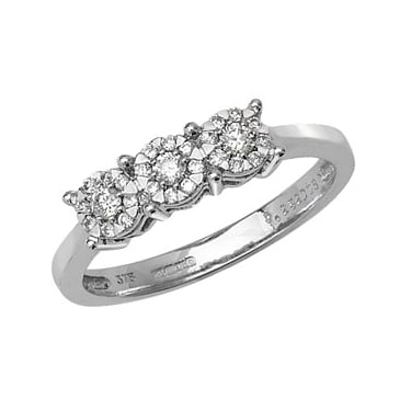 9ct White Gold Three Stone Illusion Set 0.24ct Diamond Ring