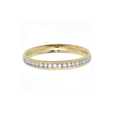 9ct Yellow Diamond 1/2 Eternity Channel Set Ring 0.25ct 1/2 Channel Set 2.7mm 21D 0.21ct