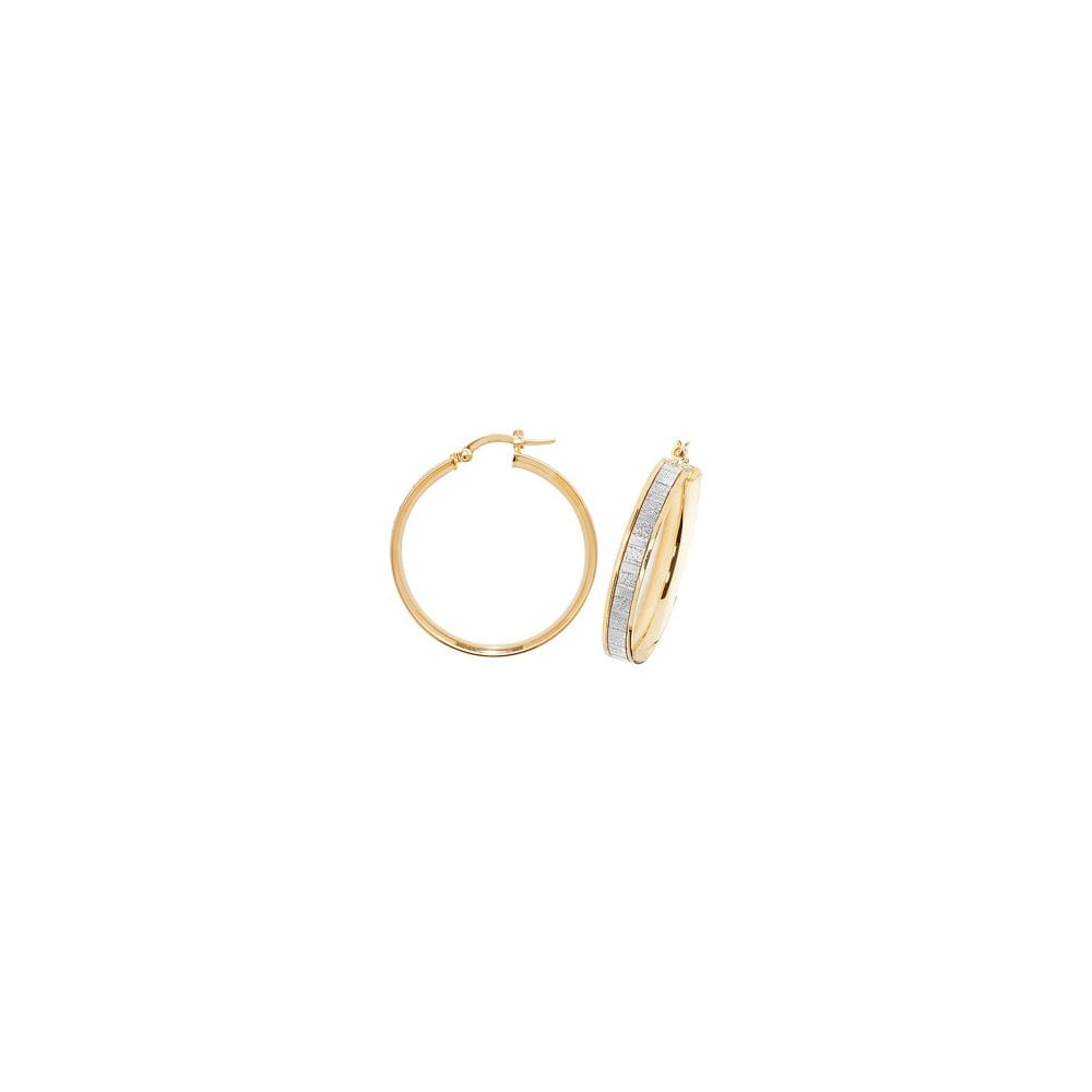 2721a0d28 9ct Yellow Gold Glitter Hoop Earrings 25mm - Jewellery from Faith ...