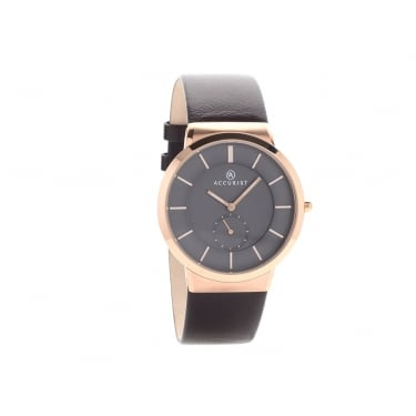 Accurist Gents Black Leather Strap Watch