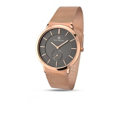 Accurist Gents London Rose Gold Strap Watch