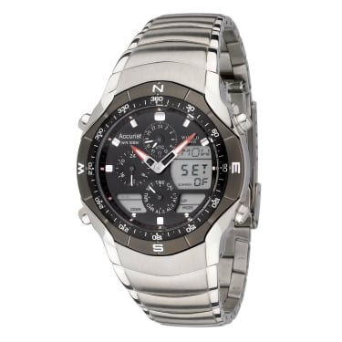 Accurist Gents Silver Strap Black Face Watch