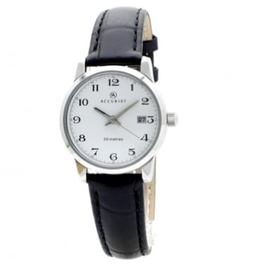 Accurist Ladies Black Leather Strap Watch