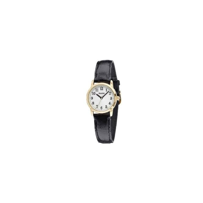Accurist Ladies Black Leather Watch