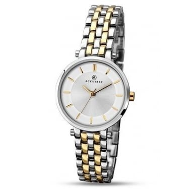 Accurist Ladies London Silver and Yellow Gold Watch