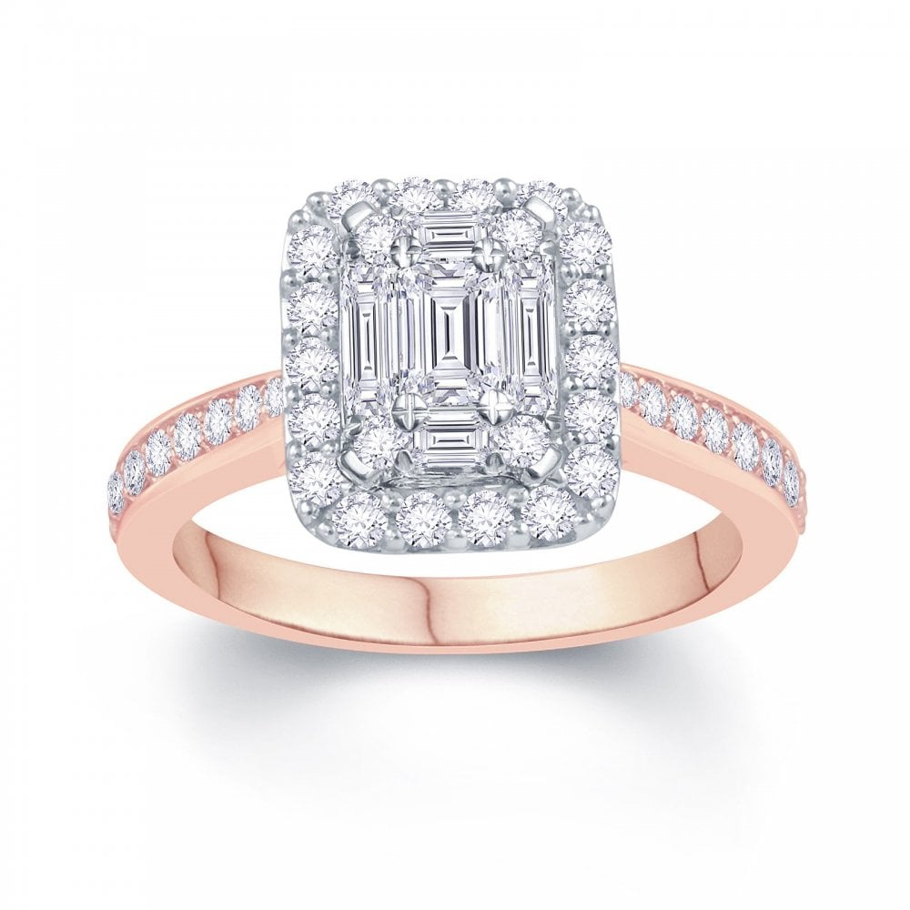 Angel Classic 9ct Rose Gold 0 80ct Baguette Cluster With Round Brilliant Diamond Halo And Shoulders Ring Engagement Rings From Faith Jewellers Uk
