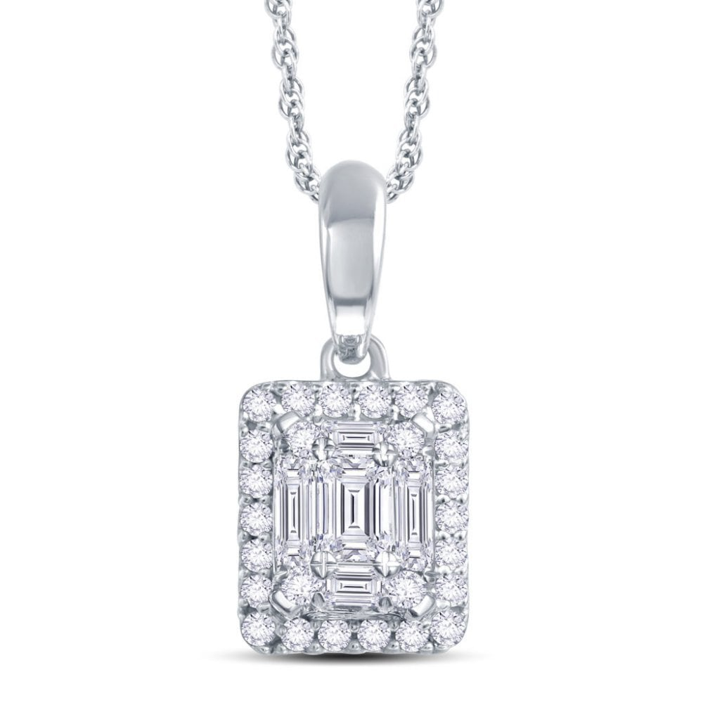 edfdcbdb55b9a Angel Classic 9ct White Gold 0.25ct Baguette and Round Brilliant Illusion  Diamond Pendant with Chain