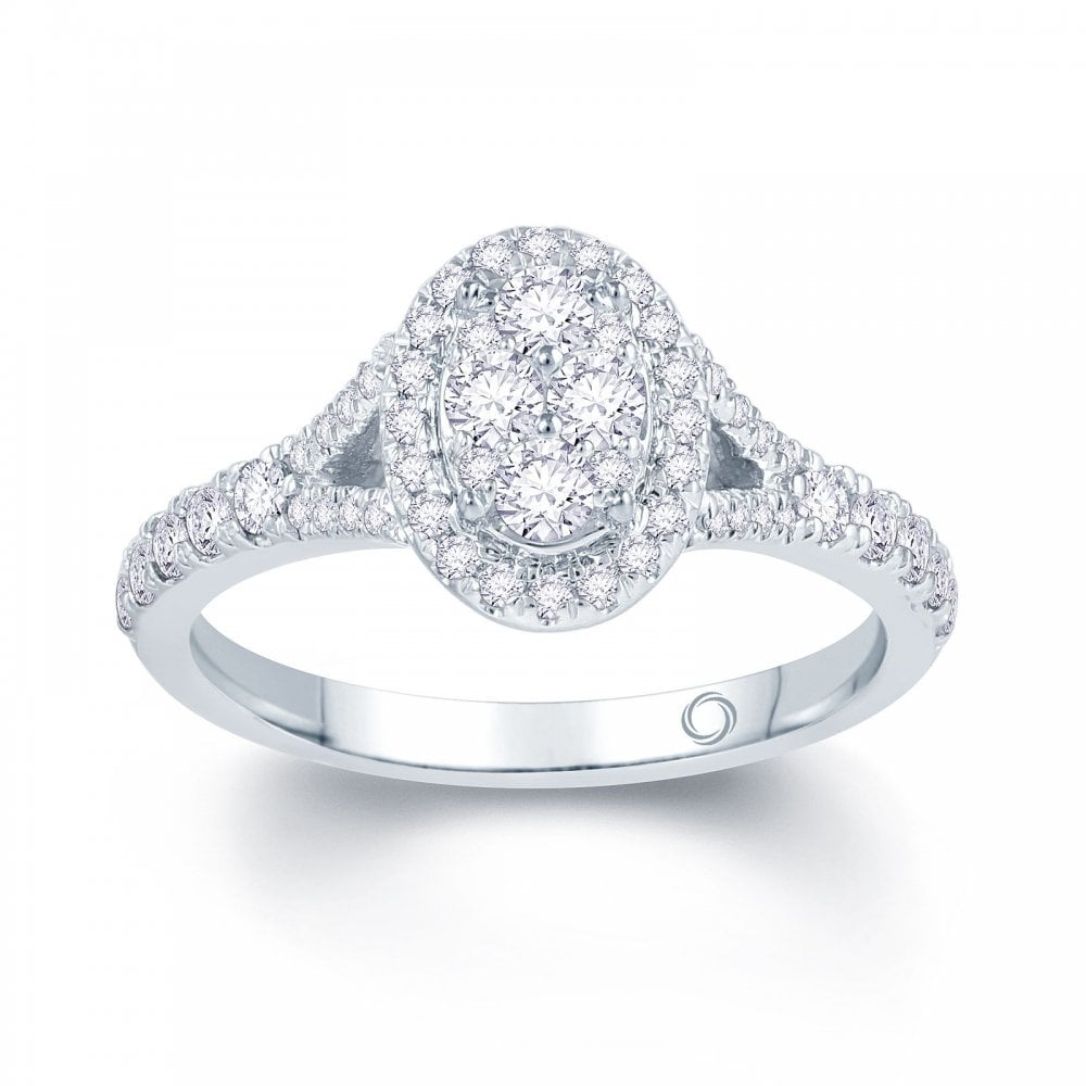 5c2af6a2e Angel Precious Palladium 0.50ct Oval Illusion with Halo and Split Diamond  Shoulders Ring with 18ct