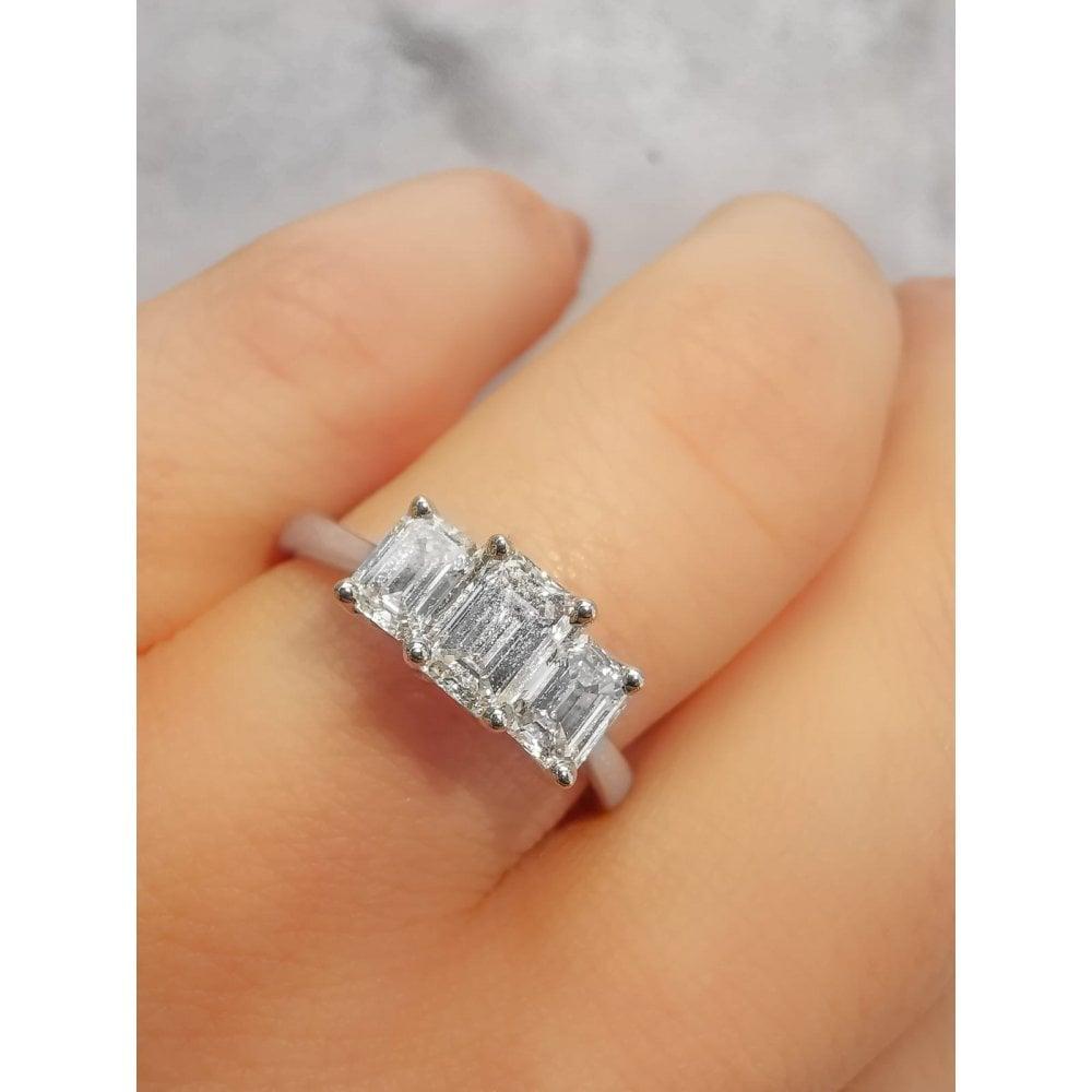 Angel Trilogy Palladium 1 00ct Three Stone Emerald Cut Diamond Ring Diamond Jewellery From Faith Jewellers Uk