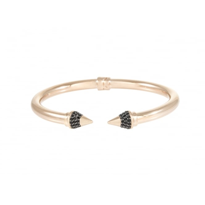 Bronzallure Black Arrow Bangle 18ct Rose Gold Plated