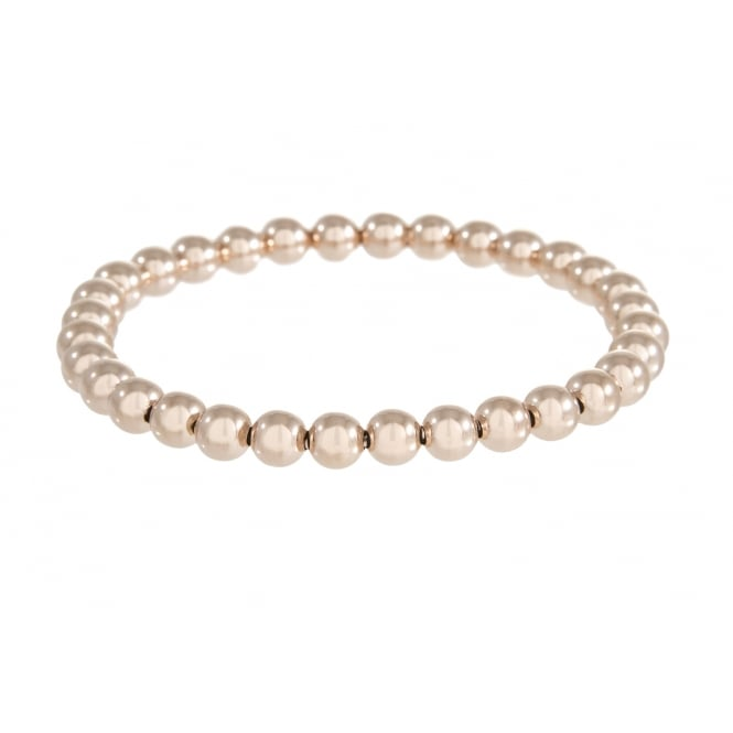 Bronzallure Shiny Beads Stretch Bracelet 18ct Rose Gold Plated