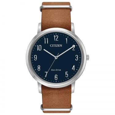 Citizen Gents Eco-Drive Chandler Brown Leather Navy Watch
