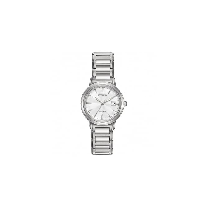 Citizen Ladies Eco Drive Steel Strap White Dial Watch