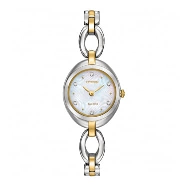 Citizen Ladies Eco Drive Two Tone Strap Mother of Pearl Dial Swarovski Crystal Watch