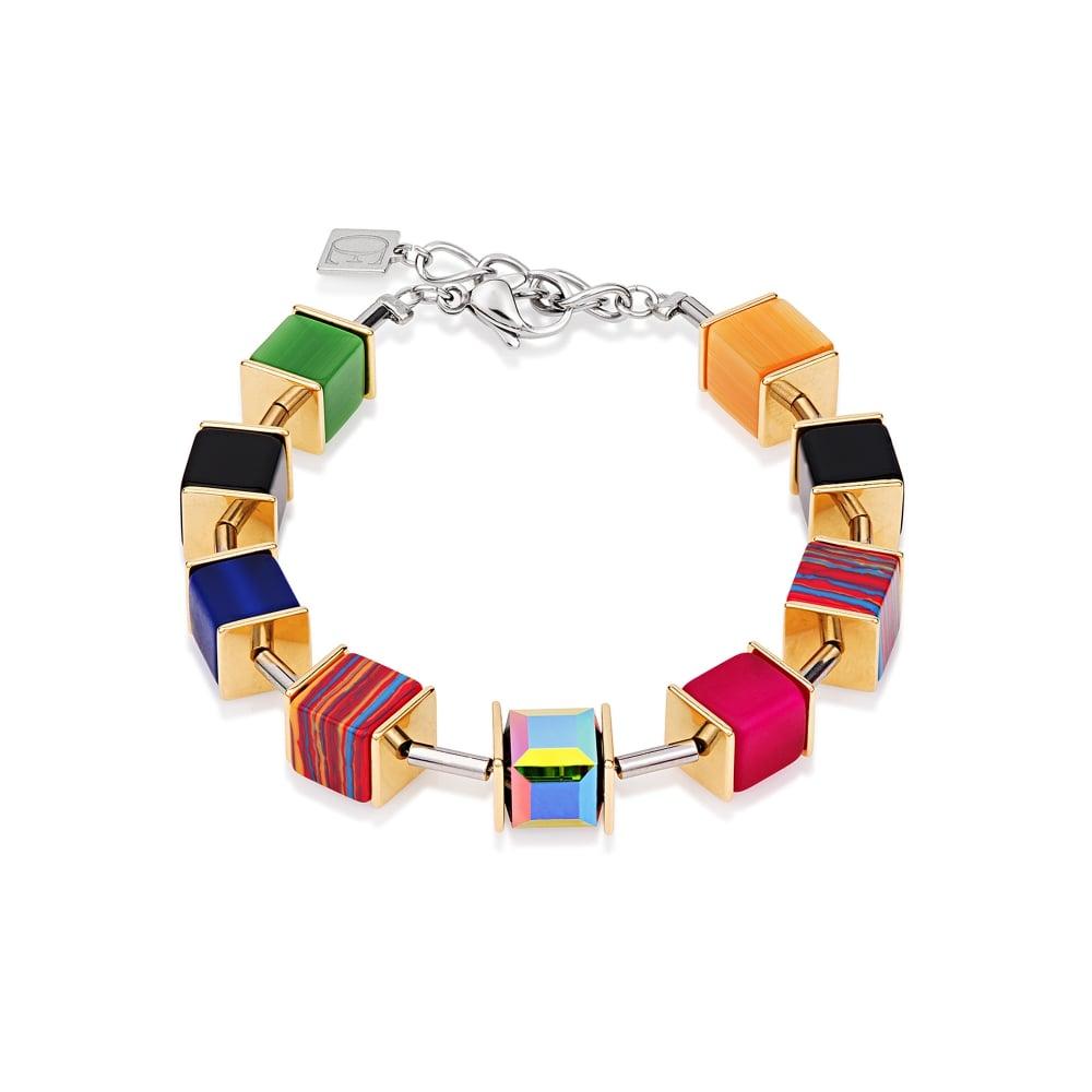 Coeur De Lion Coeur De Lion Geo Cube Bracelet Swarovski® Crystals malachite  mutlicolor gold