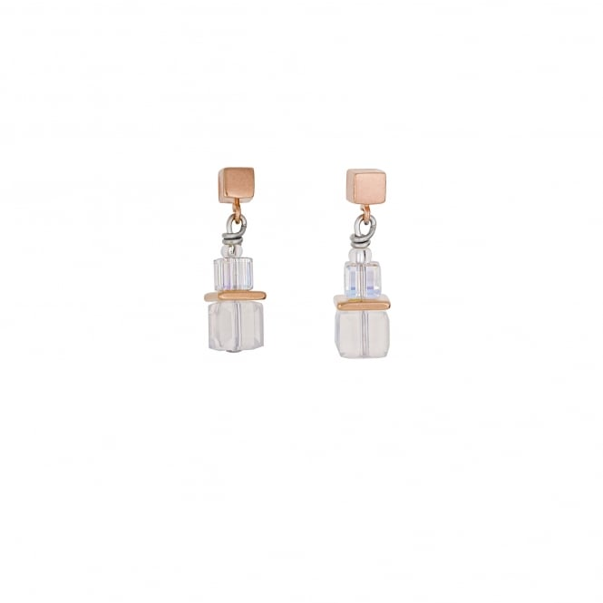 Coeur De Lion Geo Cube Earrings Rose Gold and White