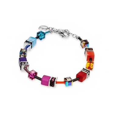 Coeur De Lion Geo Cube Multi Colour Rainbow Bracelet