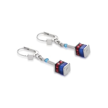 Coeur De Lion GeoCube Blue-Red Earrings