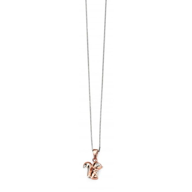 D for Diamond Rhodium Rose Gold Squirrel Pendant