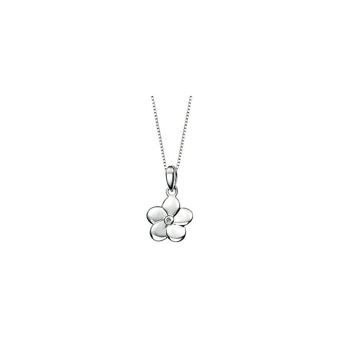 D for Diamond Sterling Silver with Diamond Flower Pendant