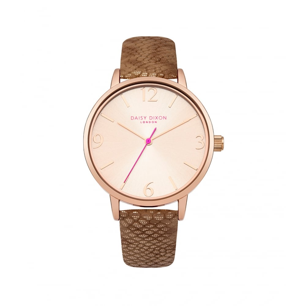 Daisy Dixon Amelia Brown Leather Strap Rose Dial Watch - Women s ... 866462230f99