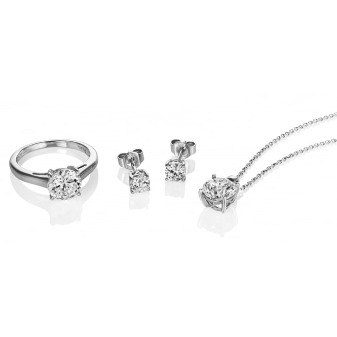 Diamonfire Silver Cubic Zirconia Pendant and Stud Earrings Set