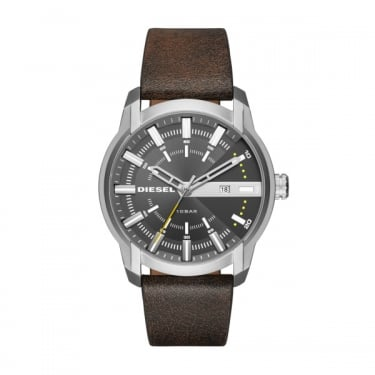 Diesel Armbar Brown Leather Strap Watch
