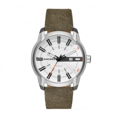 Diesel Armbar Grey Leather Strap Watch