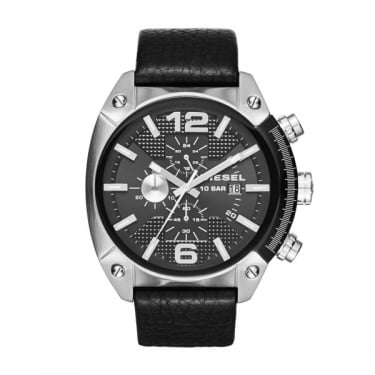 Diesel Black Face Black Leather Strap Overflow Watch
