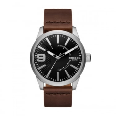 Diesel Black Face Brown Leather Strap Rasp Watch